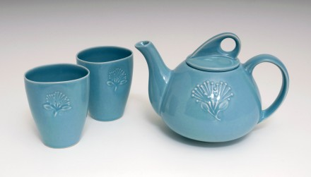 Pohutukawa Teapot and Beakers Aqua