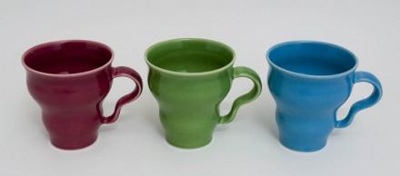 Three wavy mugs