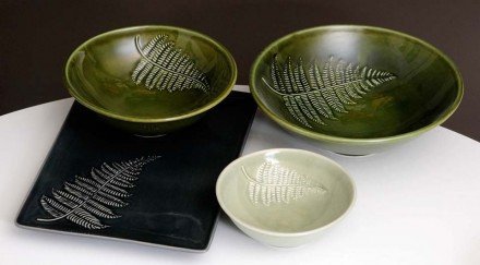 Silver Fern Bowls and platter