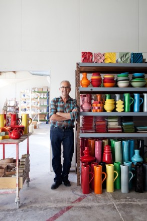Bob Steiner with colourful ceramics
