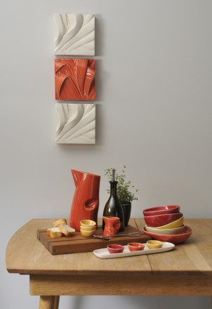 Kitchen setting in hot orange